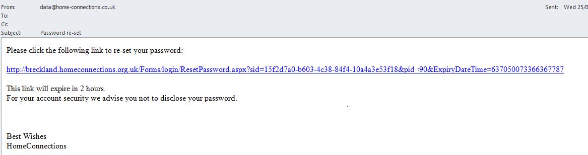 Password reset link email