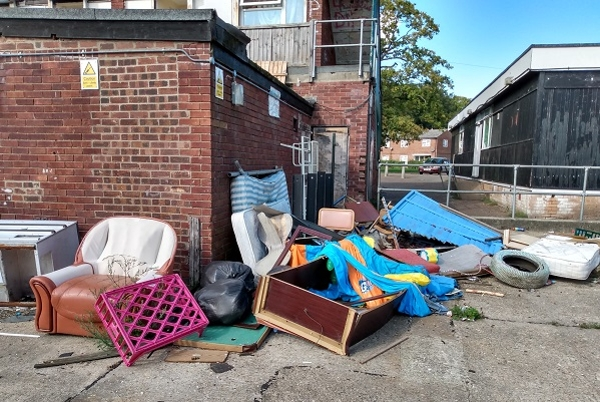 One of several fly tips at Pine Close in Thetford